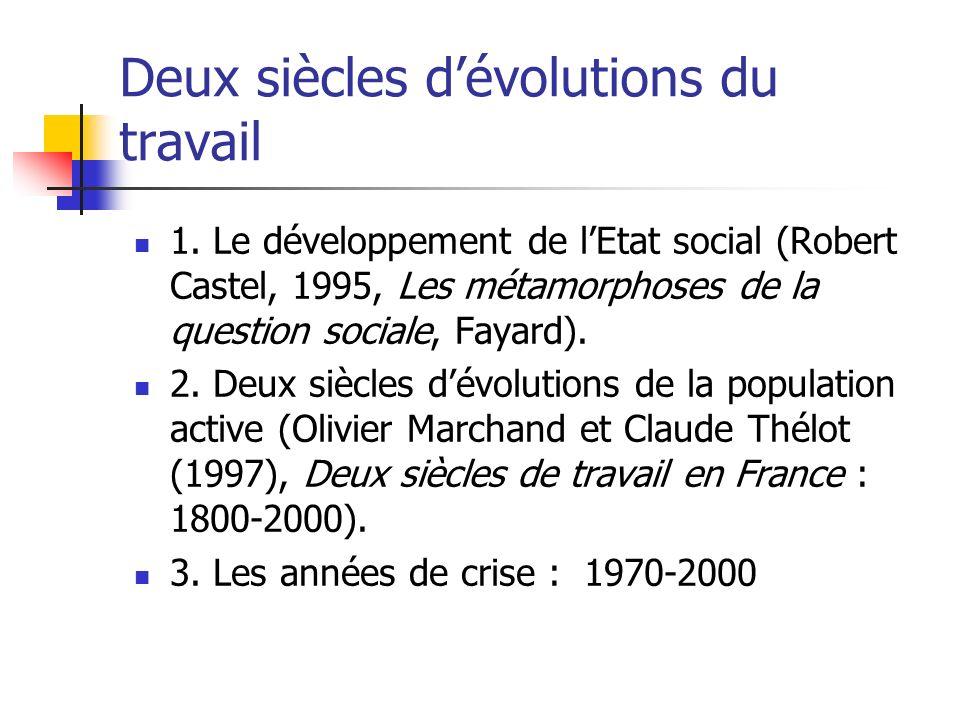Deux siècles dévolutions du travail 1. Le développement de lEtat social (Robert Castel, 1995, Les métamorphoses de la question sociale, Fayard). 2. De