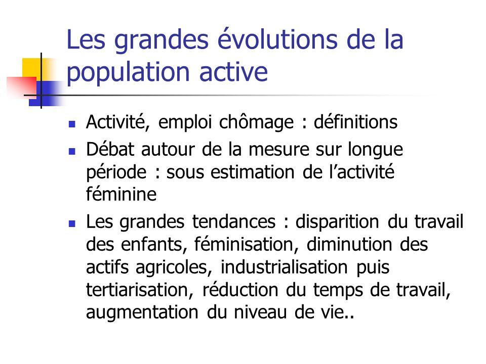 Les grandes évolutions de la population active Activité, emploi chômage : définitions Débat autour de la mesure sur longue période : sous estimation d