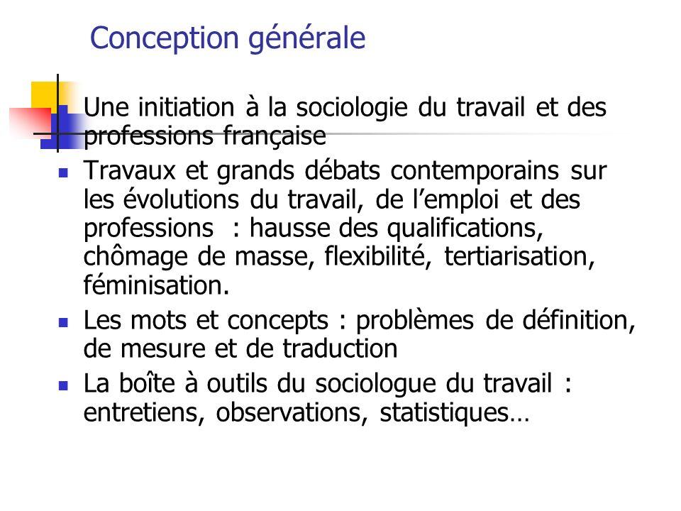 Conception générale Une initiation à la sociologie du travail et des professions française Travaux et grands débats contemporains sur les évolutions d