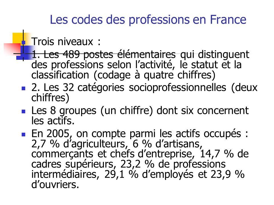 Les codes des professions en France Trois niveaux : 1. Les 489 postes élémentaires qui distinguent des professions selon lactivité, le statut et la cl