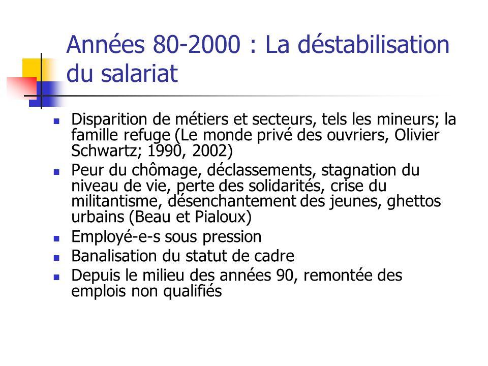 Années 80-2000 : La déstabilisation du salariat Disparition de métiers et secteurs, tels les mineurs; la famille refuge (Le monde privé des ouvriers,