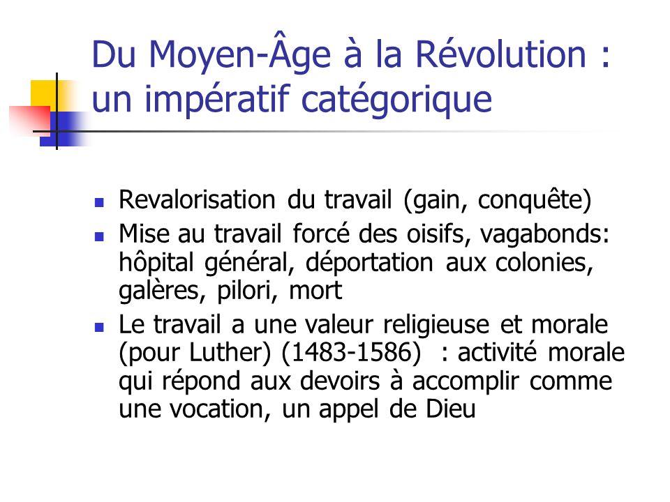 Du Moyen-Âge à la Révolution : un impératif catégorique Revalorisation du travail (gain, conquête) Mise au travail forcé des oisifs, vagabonds: hôpita