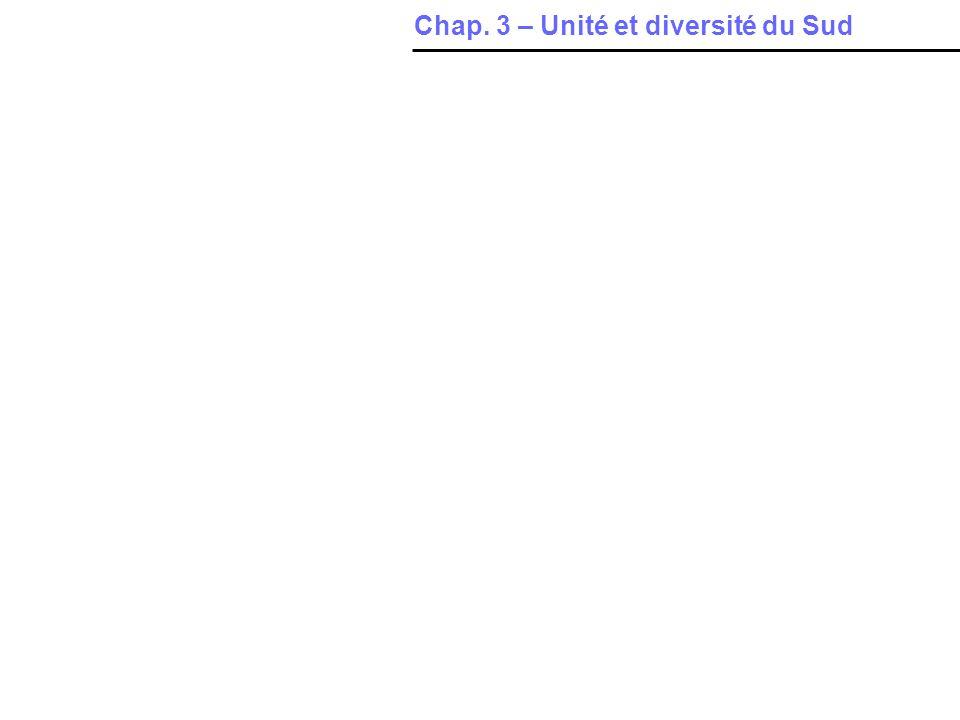 Introduction Chap. 3 – Unité et diversité du Sud