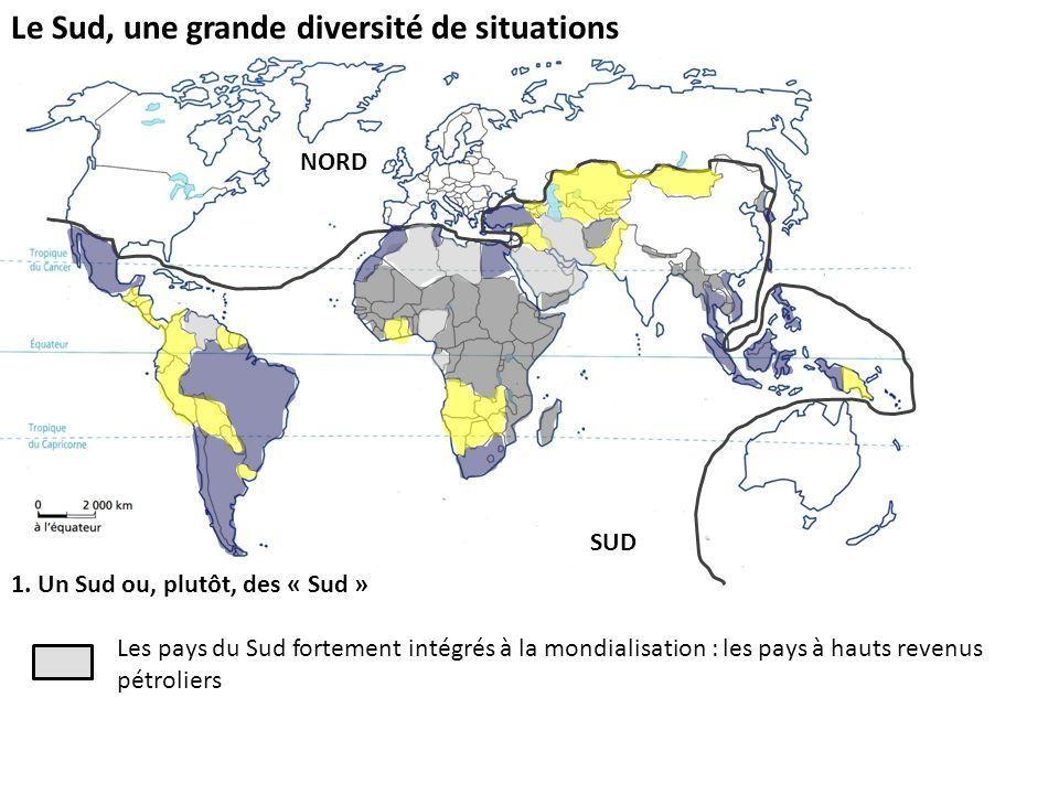 Le Sud, une grande diversité de situations 1. Un Sud ou, plutôt, des « Sud » Les pays du Sud fortement intégrés à la mondialisation : les pays à hauts