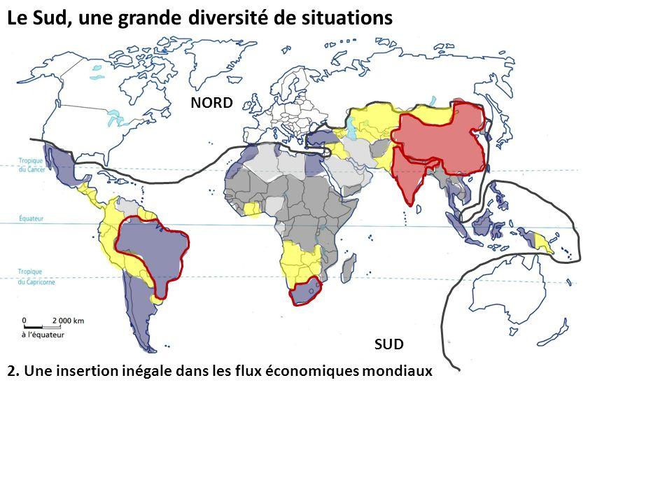 Le Sud, une grande diversité de situations 2. Une insertion inégale dans les flux économiques mondiaux NORD SUD