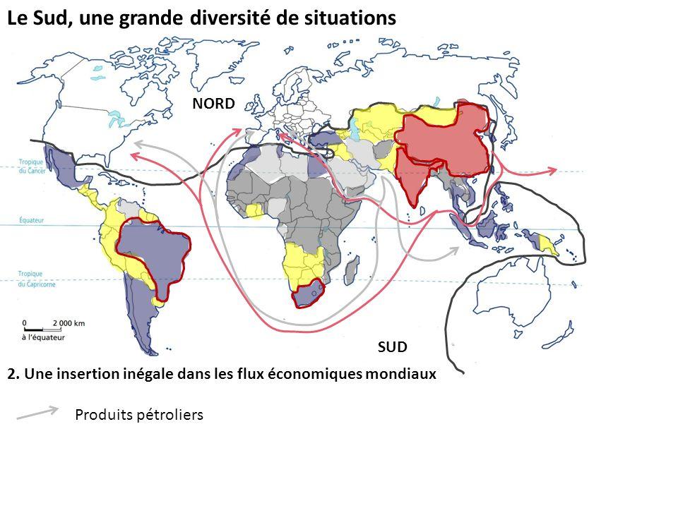 Le Sud, une grande diversité de situations 2. Une insertion inégale dans les flux économiques mondiaux Produits pétroliers NORD SUD