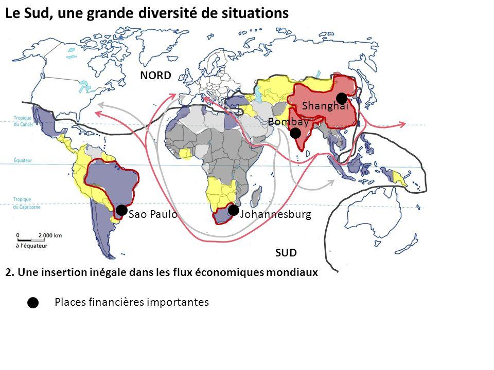 Le Sud, une grande diversité de situations 2. Une insertion inégale dans les flux économiques mondiaux Places financières importantes NORD SUD Johanne