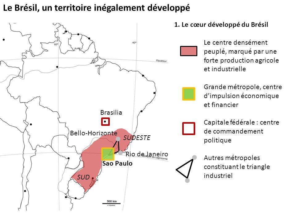 Le Brésil, un territoire inégalement développé 1. Le cœur développé du Brésil Le centre densément peuplé, marqué par une forte production agricole et