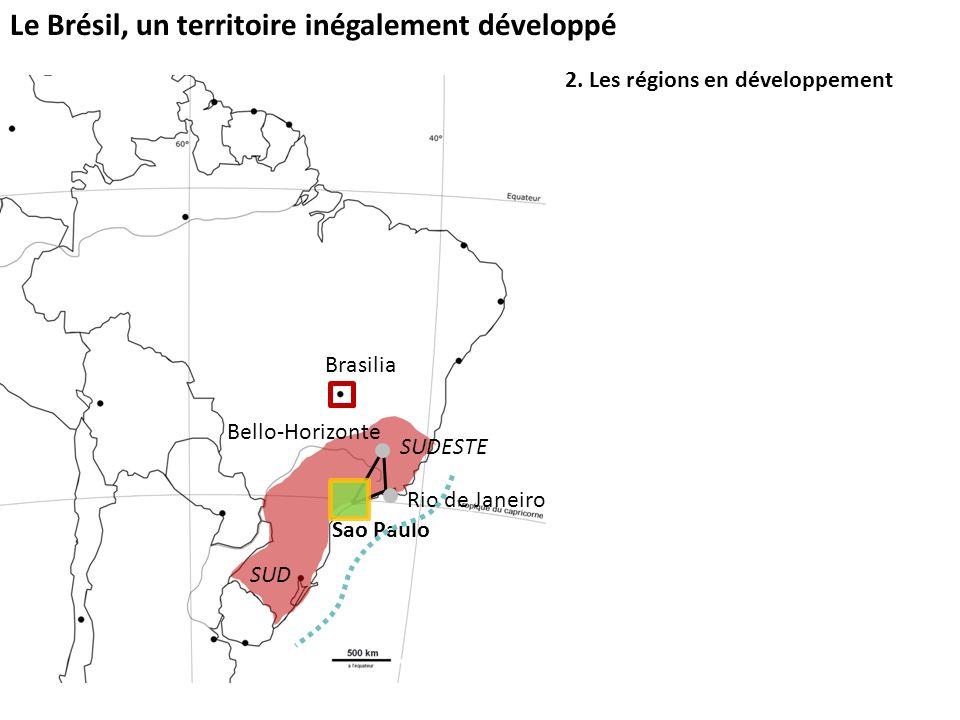Le Brésil, un territoire inégalement développé 2. Les régions en développement Sao Paulo SUD SUDESTE Brasilia Bello-Horizonte Rio de Janeiro