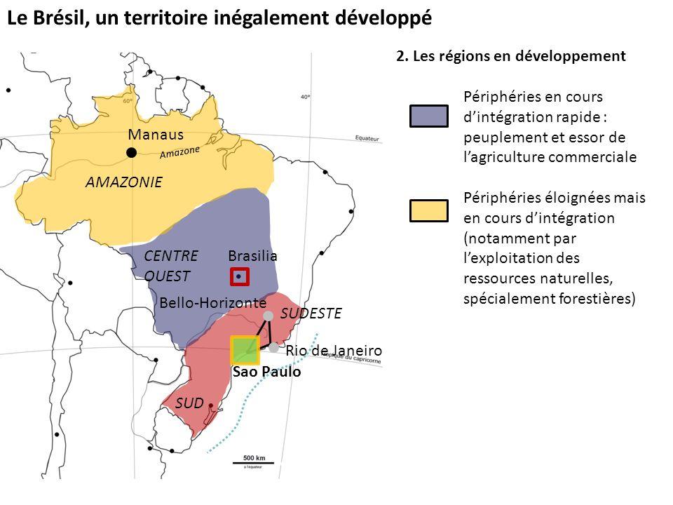 Le Brésil, un territoire inégalement développé 2. Les régions en développement Périphéries en cours dintégration rapide : peuplement et essor de lagri