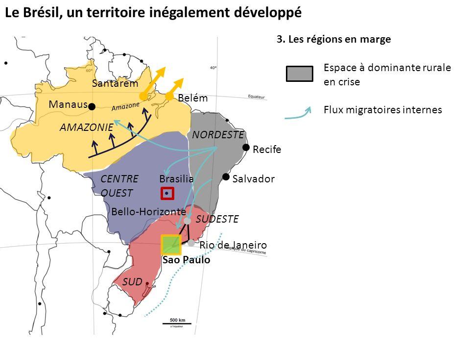 Le Brésil, un territoire inégalement développé 3. Les régions en marge Espace à dominante rurale en crise Flux migratoires internes Sao Paulo SUD SUDE