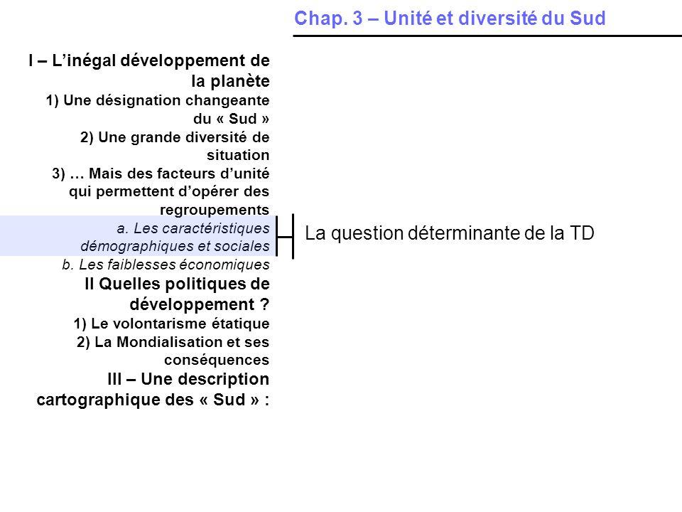 I – Linégal développement de la planète 1) Une désignation changeante du « Sud » 2) Une grande diversité de situation 3) … Mais des facteurs dunité qui permettent dopérer des regroupements a.
