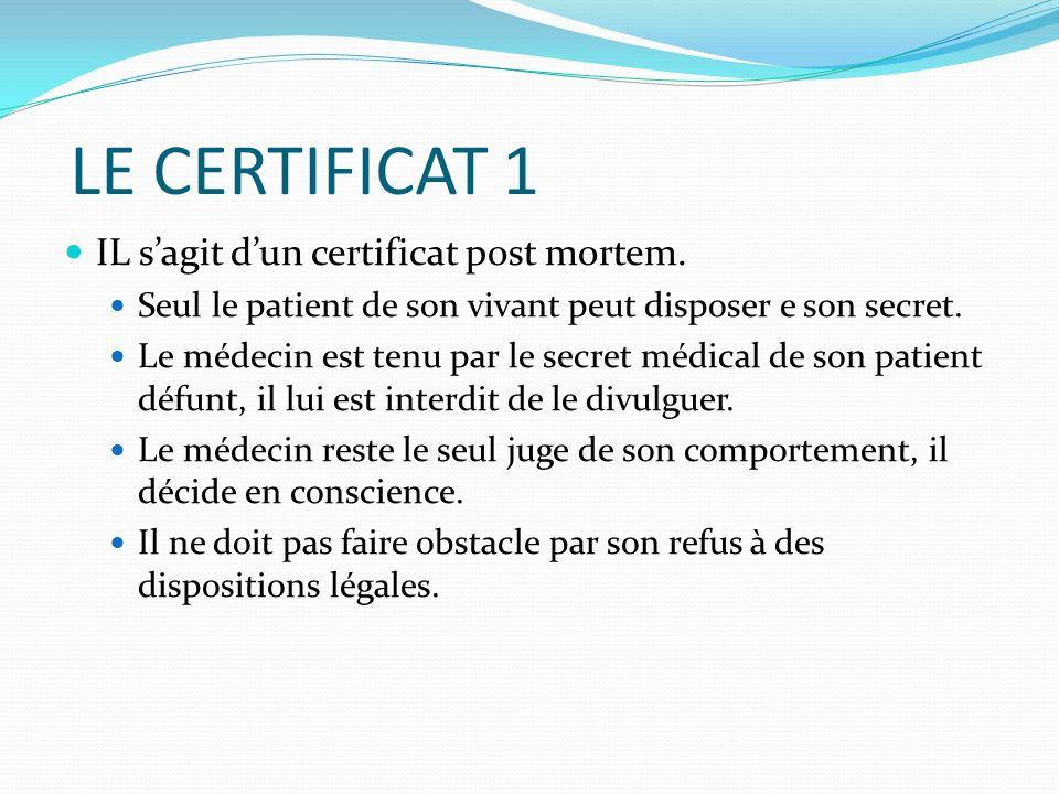 LE CERTIFICAT 1 IL sagit dun certificat post mortem. Seul le patient de son vivant peut disposer e son secret. Le médecin est tenu par le secret médic