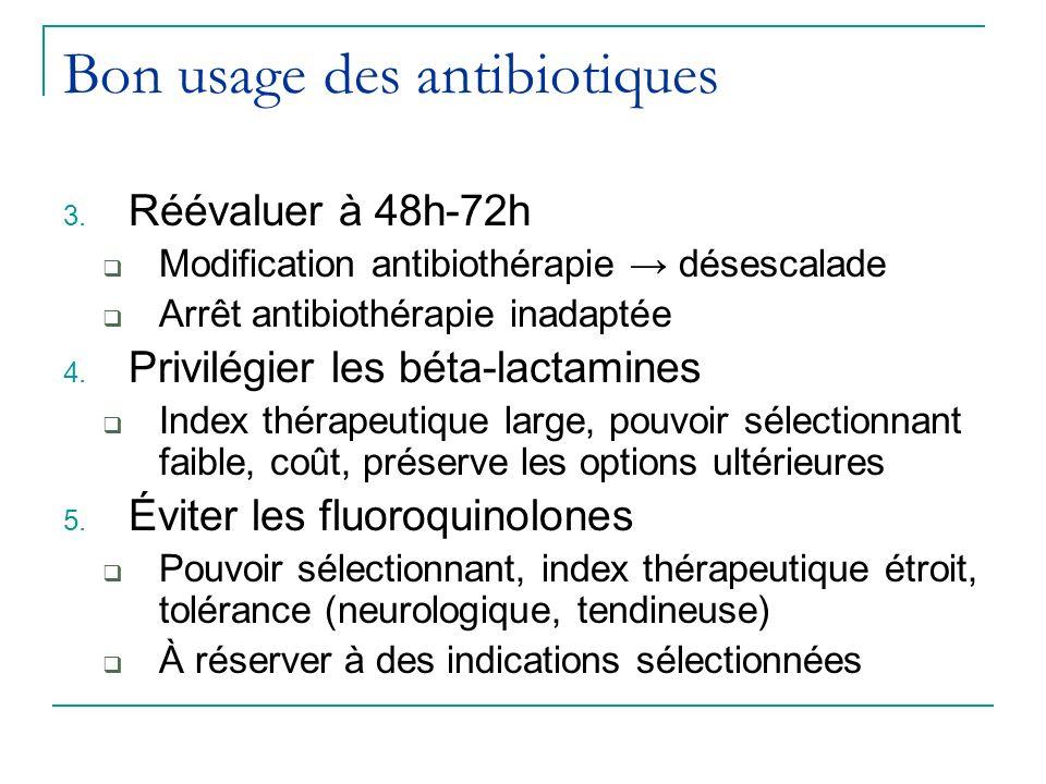Bon usage des antibiotiques 3. Réévaluer à 48h-72h Modification antibiothérapie désescalade Arrêt antibiothérapie inadaptée 4. Privilégier les béta-la