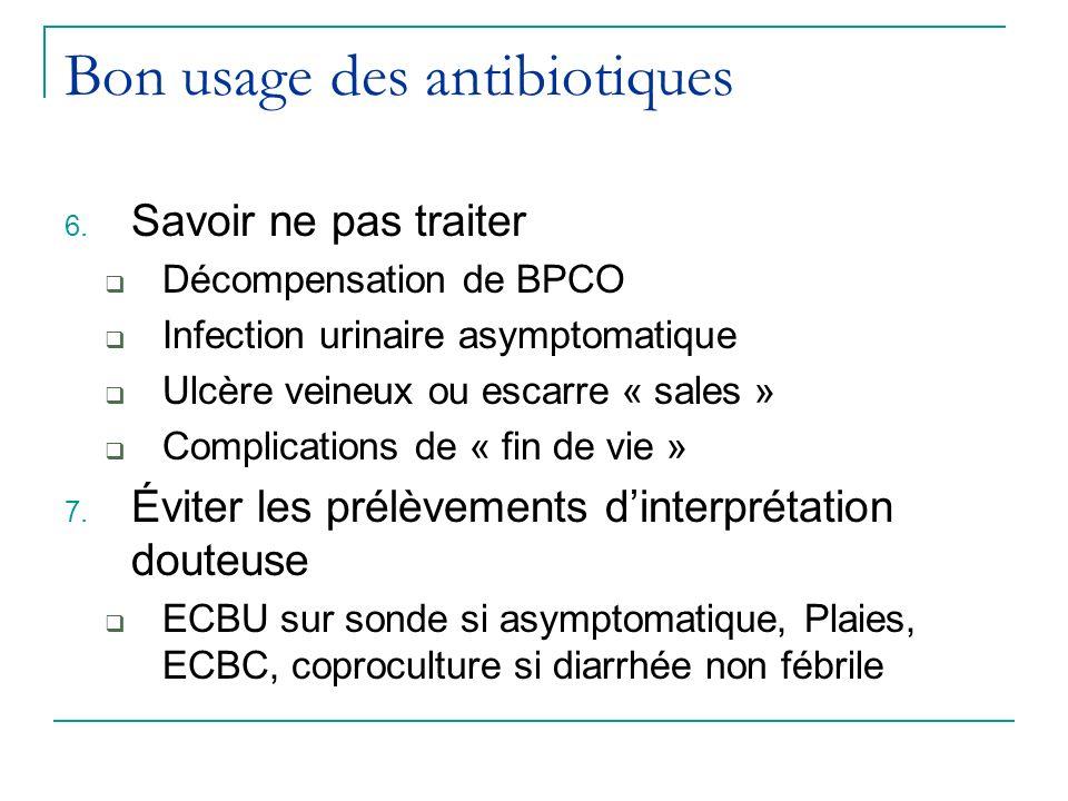 Bon usage des antibiotiques 6. Savoir ne pas traiter Décompensation de BPCO Infection urinaire asymptomatique Ulcère veineux ou escarre « sales » Comp