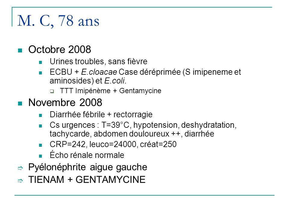 M. C, 78 ans Octobre 2008 Urines troubles, sans fièvre ECBU + E.cloacae Case déréprimée (S imipeneme et aminosides) et E.coli. TTT Imipénème + Gentamy