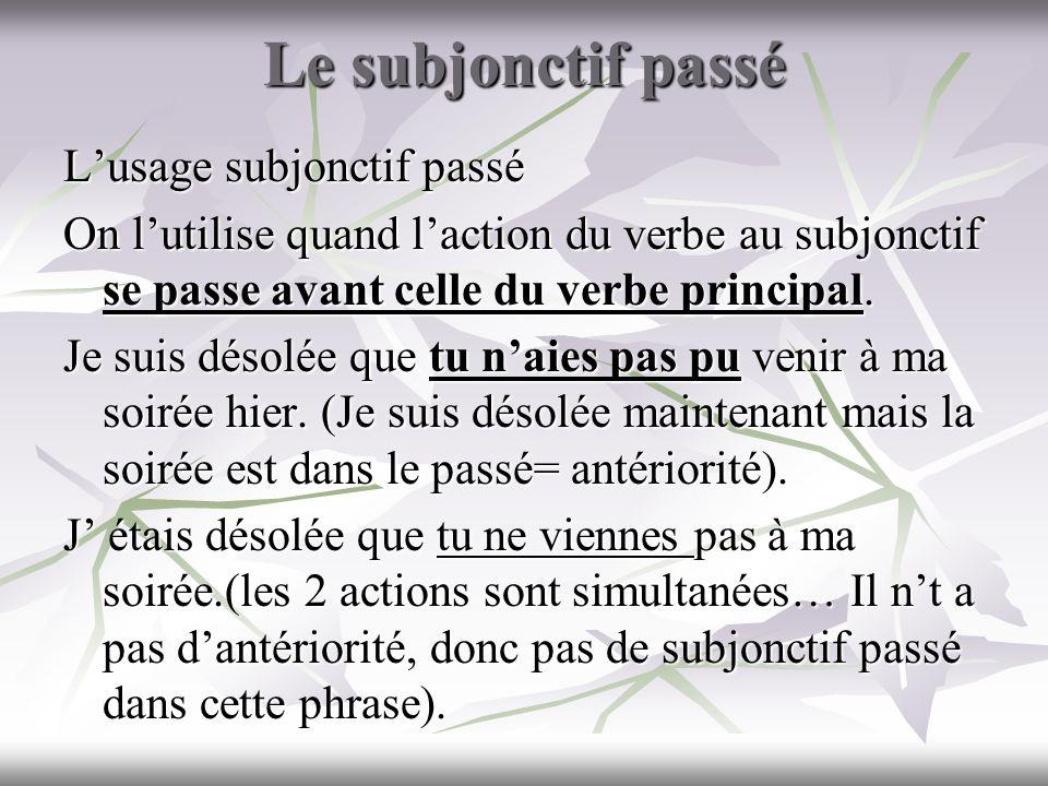 Le subjonctif passé Lusage subjonctif passé On lutilise quand laction du verbe au subjonctif se passe avant celle du verbe principal. Je suis désolée