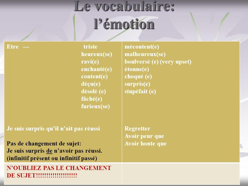Le vocabulaire: lémotion Etre --- triste heureux(se) ravi(e) enchanté(e) content(e) déçu(e) désolé (e) fâché(e) furieux(se) Je suis surpris quil nait