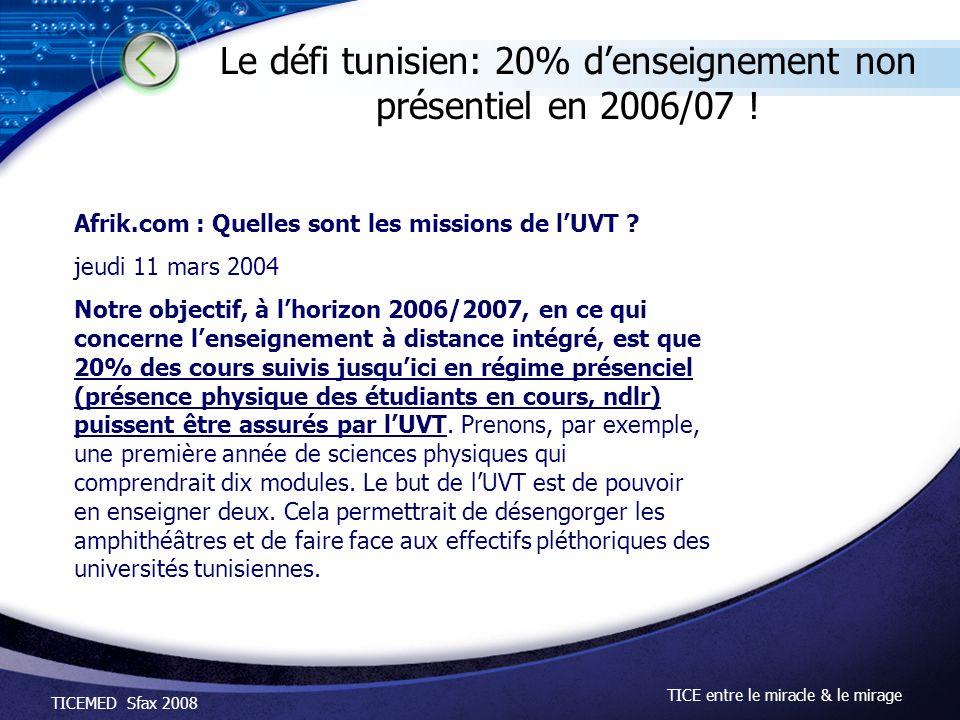 TICEMED Sfax 2008 TICE entre le miracle & le mirage Le défi tunisien: 20% denseignement non présentiel en 2006/07 ! Afrik.com : Quelles sont les missi