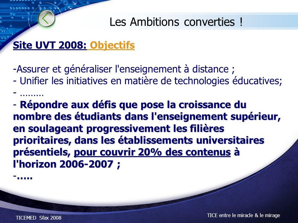 TICEMED Sfax 2008 TICE entre le miracle & le mirage Les Ambitions converties ! Site UVT 2008: Objectifs -Assurer et généraliser l'enseignement à dista