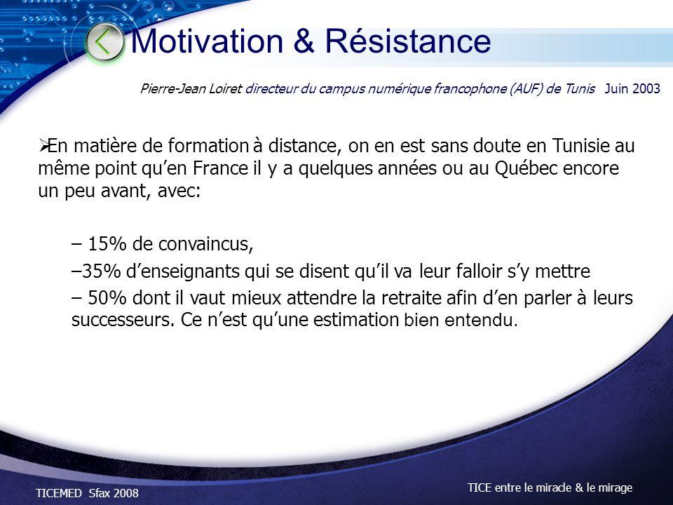 TICEMED Sfax 2008 TICE entre le miracle & le mirage En matière de formation à distance, on en est sans doute en Tunisie au même point quen France il y