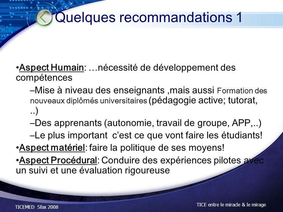 TICEMED Sfax 2008 TICE entre le miracle & le mirage Aspect Humain: …nécessité de développement des compétences –Mise à niveau des enseignants,mais aus