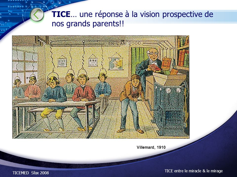 TICEMED Sfax 2008 TICE entre le miracle & le mirage Villemard, 1910 TICE… une réponse à la vision prospective de nos grands parents!!