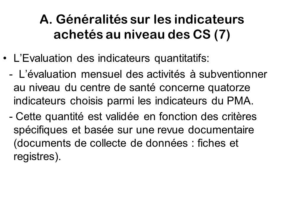 A. Généralités sur les indicateurs achetés au niveau des CS (7) LEvaluation des indicateurs quantitatifs: - Lévaluation mensuel des activités à subven