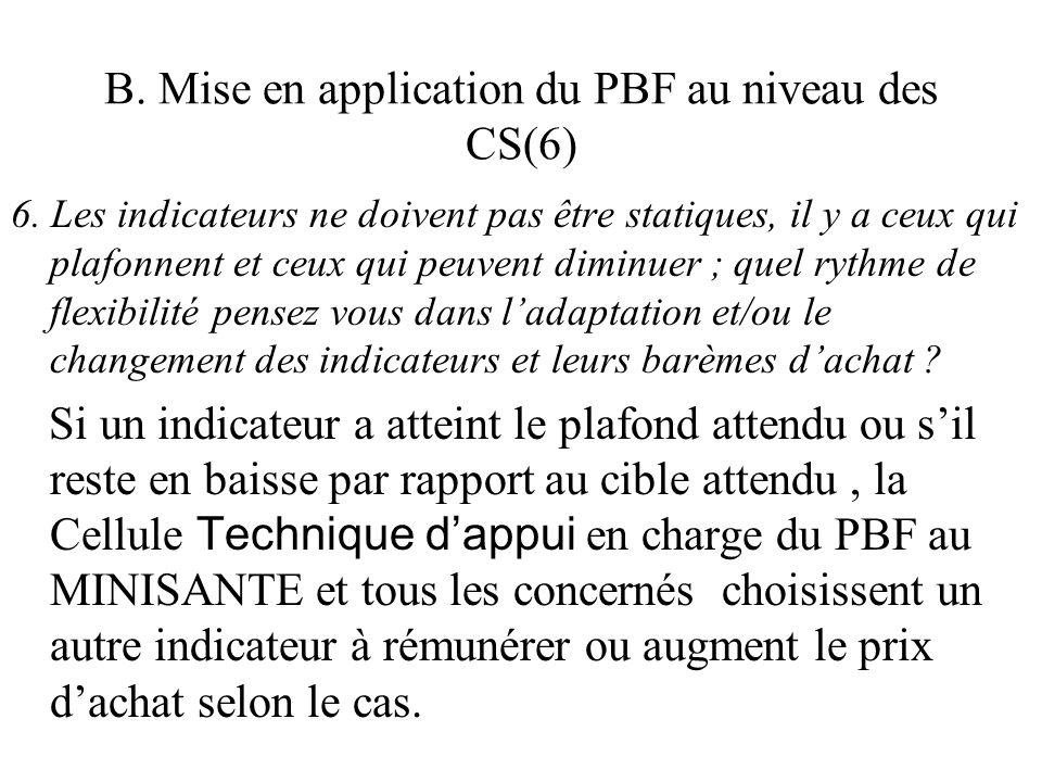 B. Mise en application du PBF au niveau des CS(6) 6. Les indicateurs ne doivent pas être statiques, il y a ceux qui plafonnent et ceux qui peuvent dim