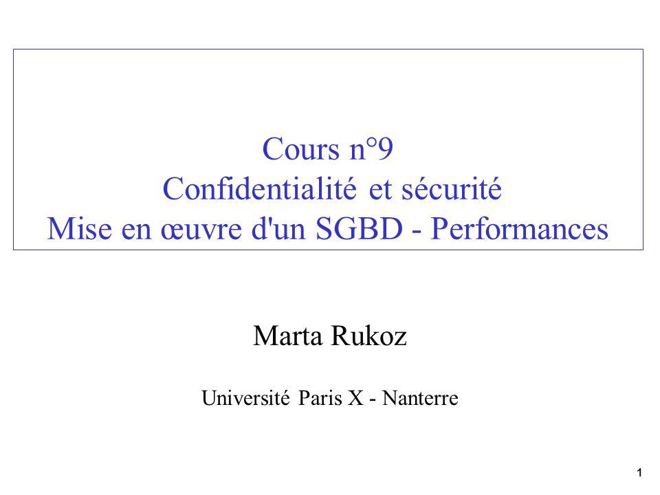1 Cours n°9 Confidentialité et sécurité Mise en œuvre d'un SGBD - Performances Marta Rukoz Université Paris X - Nanterre