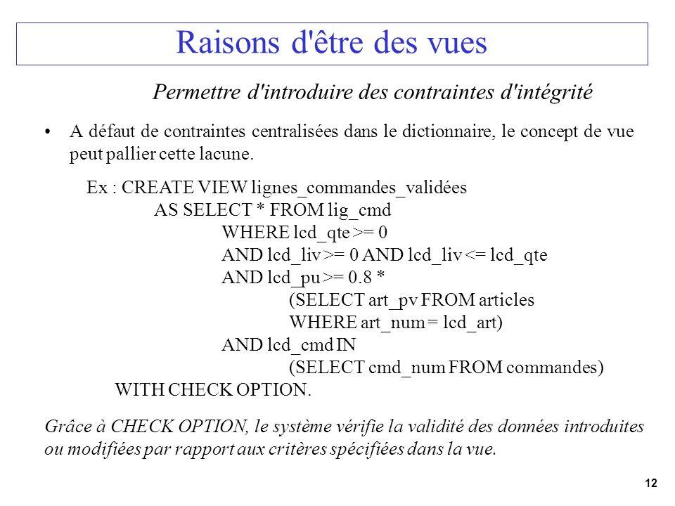 12 Raisons d'être des vues A défaut de contraintes centralisées dans le dictionnaire, le concept de vue peut pallier cette lacune. Permettre d'introdu