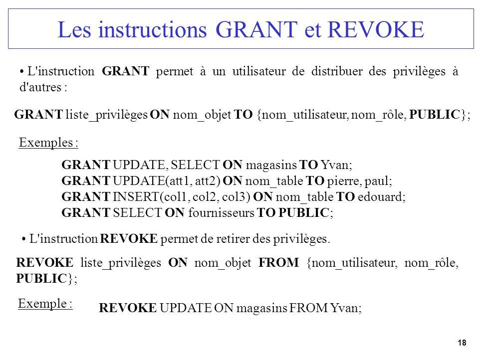 18 Les instructions GRANT et REVOKE L'instruction GRANT permet à un utilisateur de distribuer des privilèges à d'autres : GRANT liste_privilèges ON no