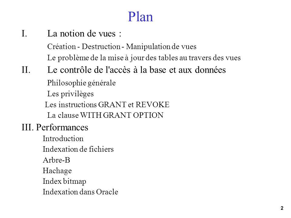 2 Plan I.La notion de vues : Création - Destruction - Manipulation de vues Le problème de la mise à jour des tables au travers des vues II.Le contrôle