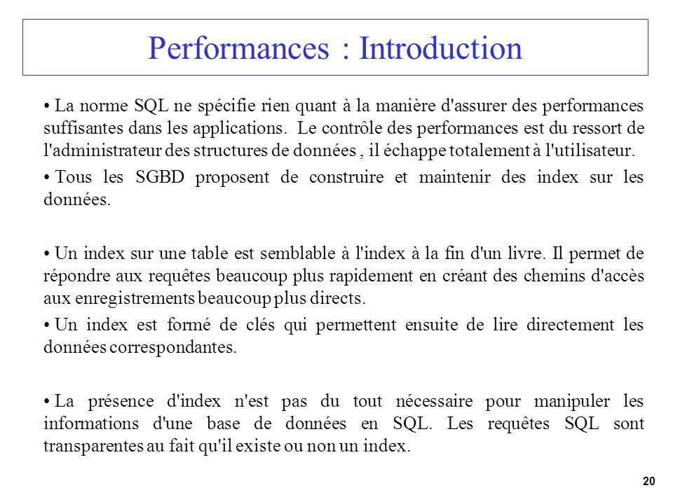 20 Performances : Introduction La norme SQL ne spécifie rien quant à la manière d'assurer des performances suffisantes dans les applications. Le contr