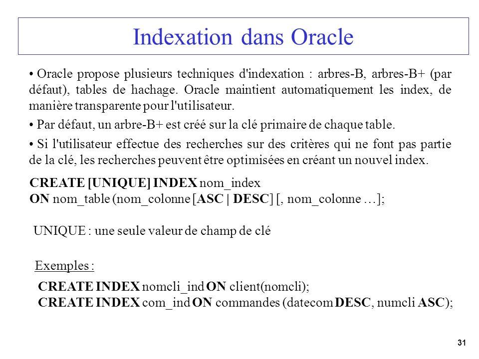 31 Indexation dans Oracle Oracle propose plusieurs techniques d'indexation : arbres-B, arbres-B+ (par défaut), tables de hachage. Oracle maintient aut