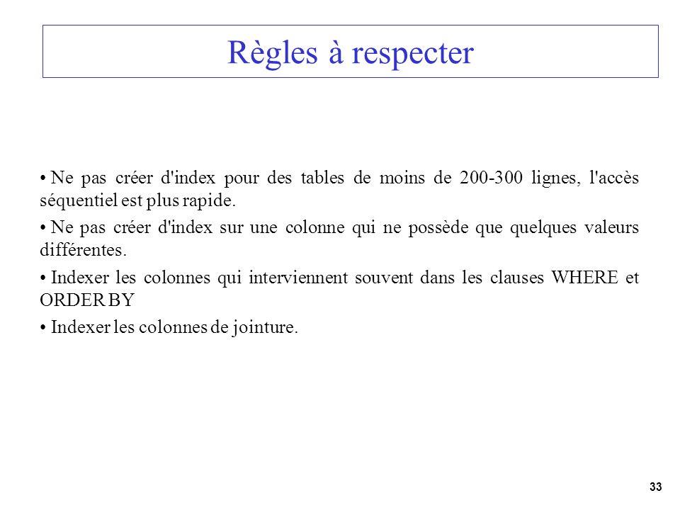 33 Règles à respecter Ne pas créer d'index pour des tables de moins de 200-300 lignes, l'accès séquentiel est plus rapide. Ne pas créer d'index sur un