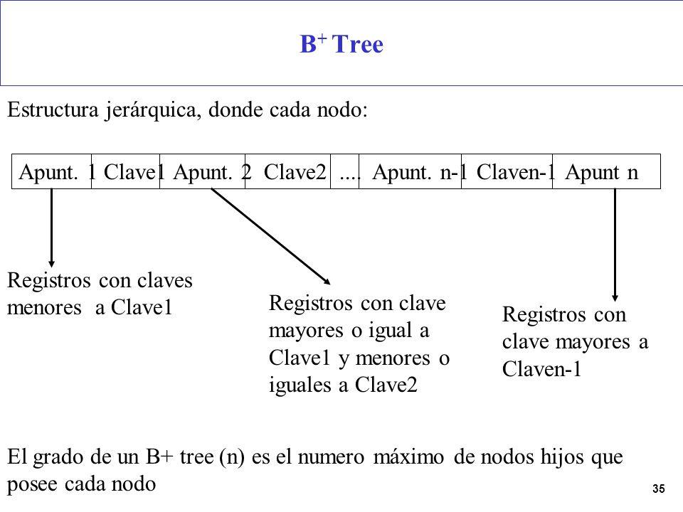 35 B + Tree Apunt. 1 Clave1 Apunt. 2 Clave2.... Apunt. n-1 Claven-1 Apunt n Registros con claves menores a Clave1 Registros con clave mayores o igual