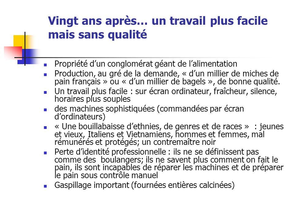 Vingt ans après… un travail plus facile mais sans qualité Propriété dun conglomérat géant de lalimentation Production, au gré de la demande, « dun millier de miches de pain français » ou « dun millier de bagels », de bonne qualité.