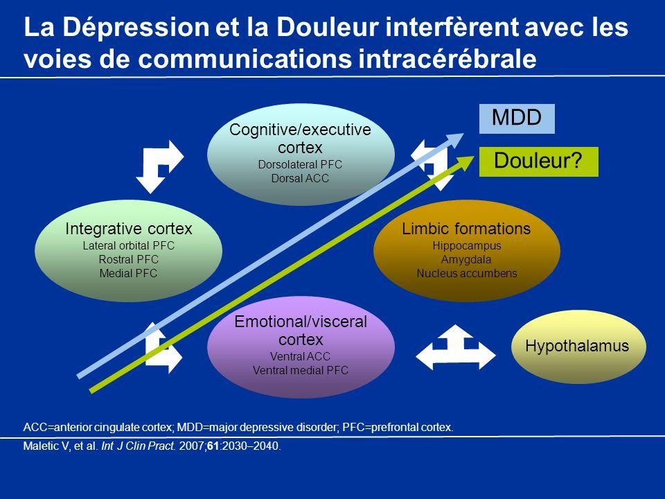 La Dépression et la Douleur interfèrent avec les voies de communications intracérébrale Hypothalamus Cognitive/executive cortex Dorsolateral PFC Dorsa