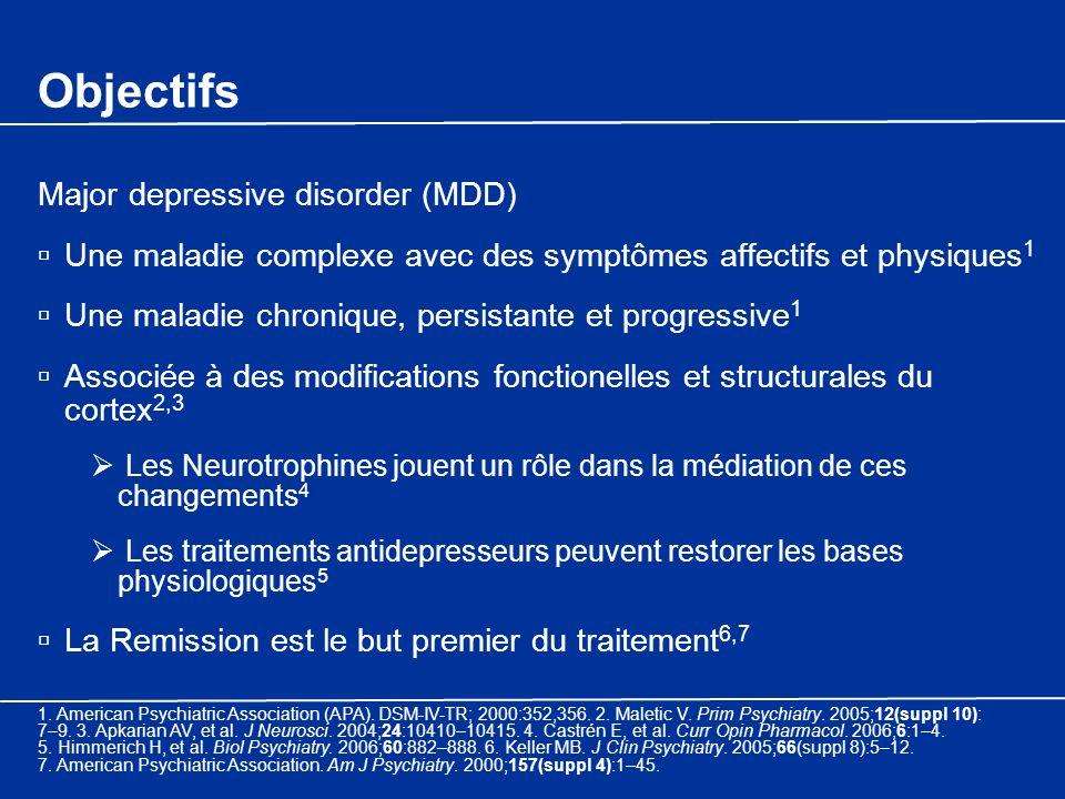 Objectifs Major depressive disorder (MDD) Une maladie complexe avec des symptômes affectifs et physiques 1 Une maladie chronique, persistante et progr