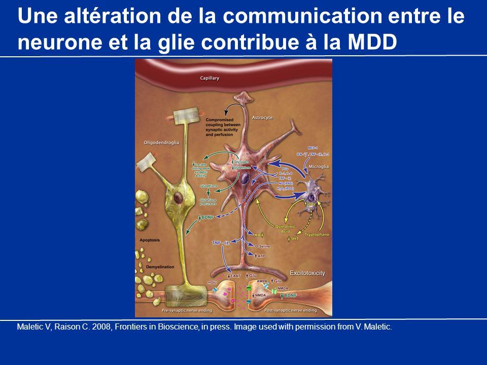 Une altération de la communication entre le neurone et la glie contribue à la MDD Maletic V, Raison C. 2008, Frontiers in Bioscience, in press. Image