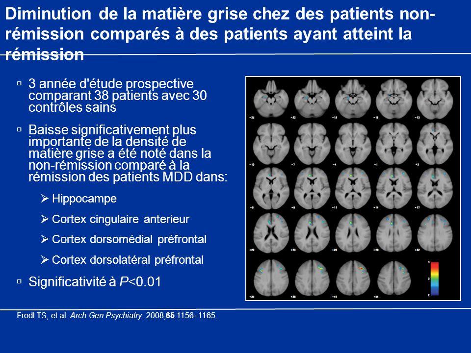 Diminution de la matière grise chez des patients non- rémission comparés à des patients ayant atteint la rémission 3 année d'étude prospective compara