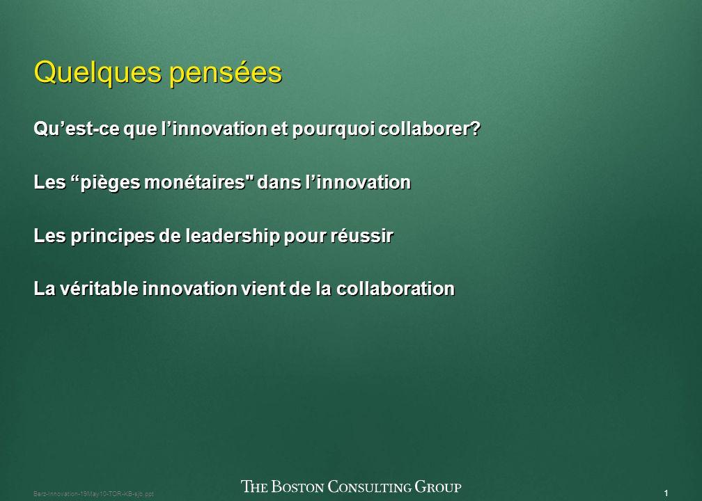 Innovation et collaboration : Concentration sur le retour sur linvestissement Le 2 juin 2010 Innovation et collaboration : Concentration sur le retour sur linvestissement Le 2 juin 2010