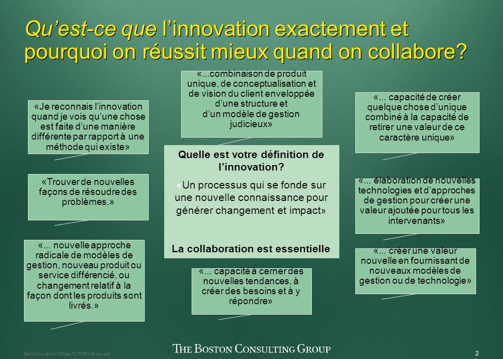 1 Berz-Innovation-19May10-TOR-KB-sjb.ppt Quelques pensées Quest-ce que linnovation et pourquoi collaborer.