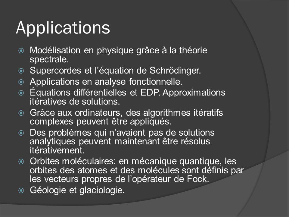 Applications Modélisation en physique grâce à la théorie spectrale. Supercordes et léquation de Schrödinger. Applications en analyse fonctionnelle. Éq