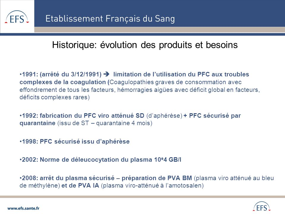 Historique: évolution des produits et besoins 1991: (arrêté du 3/12/1991) limitation de lutilisation du PFC aux troubles complexes de la coagulation (