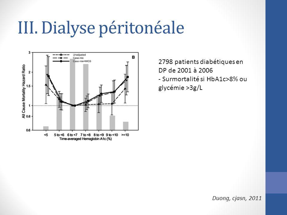 III. Dialyse péritonéale 2798 patients diabétiques en DP de 2001 à 2006 - Surmortalité si HbA1c>8% ou glycémie >3g/L Duong, cjasn, 2011