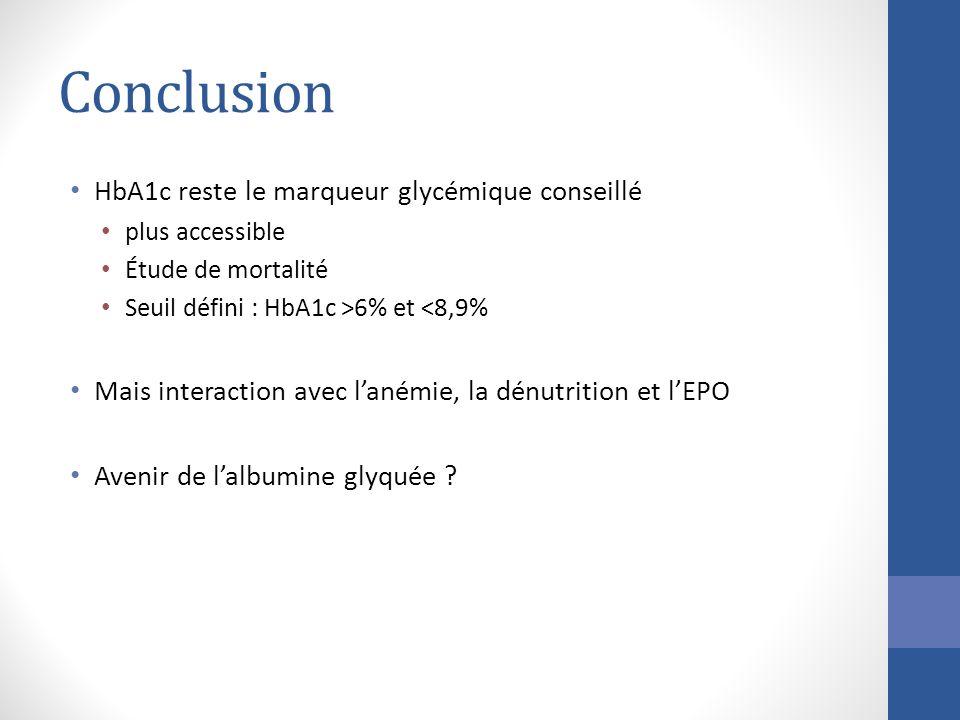 Conclusion HbA1c reste le marqueur glycémique conseillé plus accessible Étude de mortalité Seuil défini : HbA1c >6% et <8,9% Mais interaction avec lan
