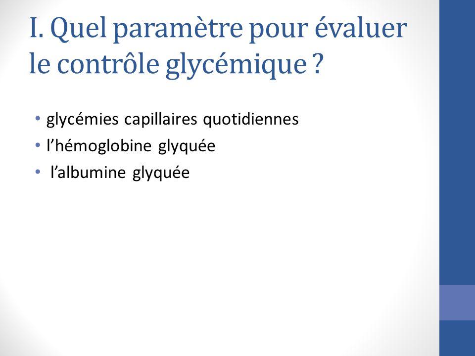 I. Quel paramètre pour évaluer le contrôle glycémique ? glycémies capillaires quotidiennes lhémoglobine glyquée lalbumine glyquée