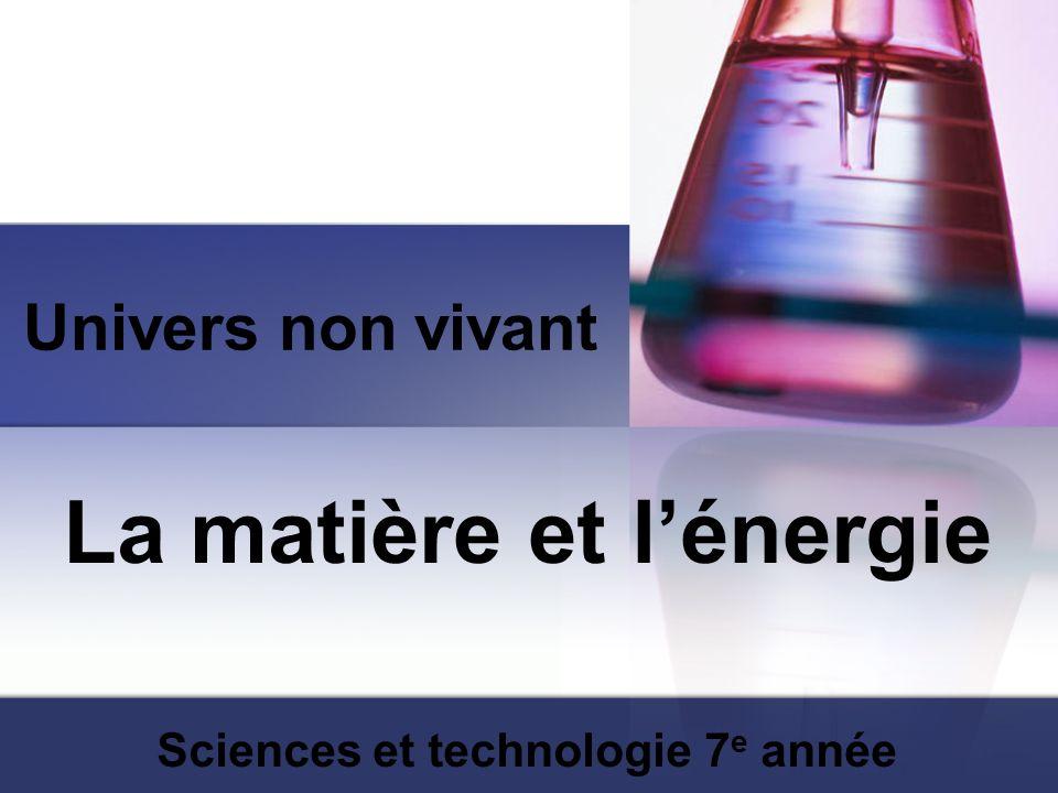 Univers non vivant La matière et lénergie Sciences et technologie 7 e année
